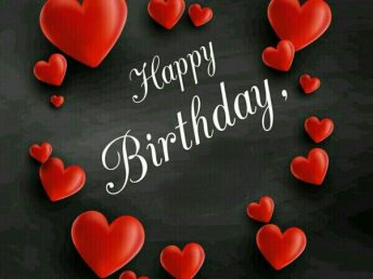 Birthday greeting with red hearts to a loved one