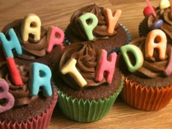 Cute Birthday cupcakes with letters photo
