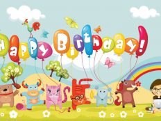 Happy Birthday Cartoon Celebration for Kids Wallpaper