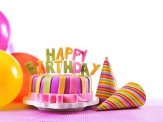 Happy Birthday on Cake, air balloons, cones (HD Wallpaper)