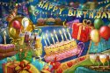 Happy birthday sign, cake and gift boxes