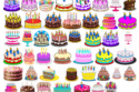Birthday cakes clip arts collection